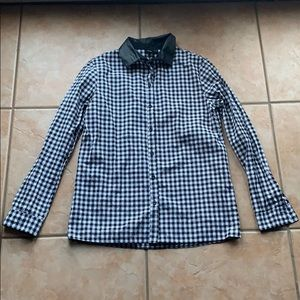 ASOS Gingham Faux Leather Button Down Size 2
